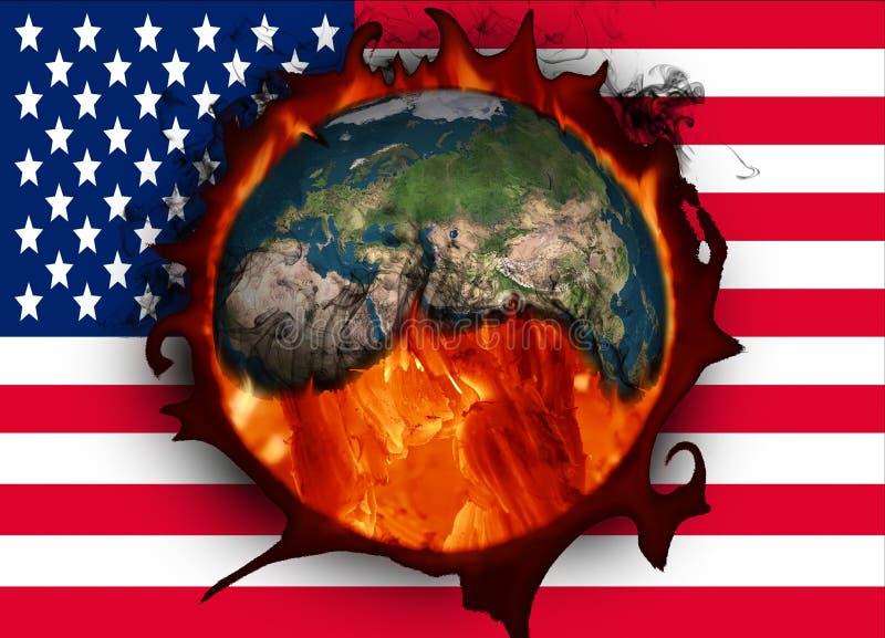 Alterações climáticas e bandeira americana EUA e aquecimento global ilustração stock