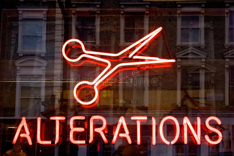 Alterations neon sign royalty free stock photography