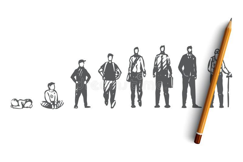 Altern, männlich, Junge, Mann, alt, Leutekonzept Hand gezeichneter lokalisierter Vektor vektor abbildung