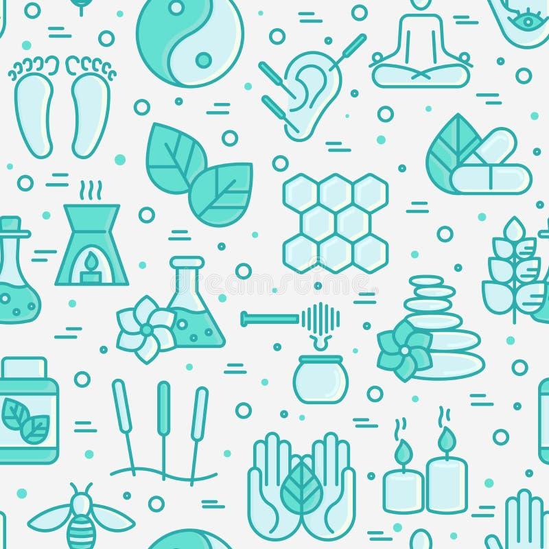 Alternatief geneeskunde naadloos patroon royalty-vrije illustratie