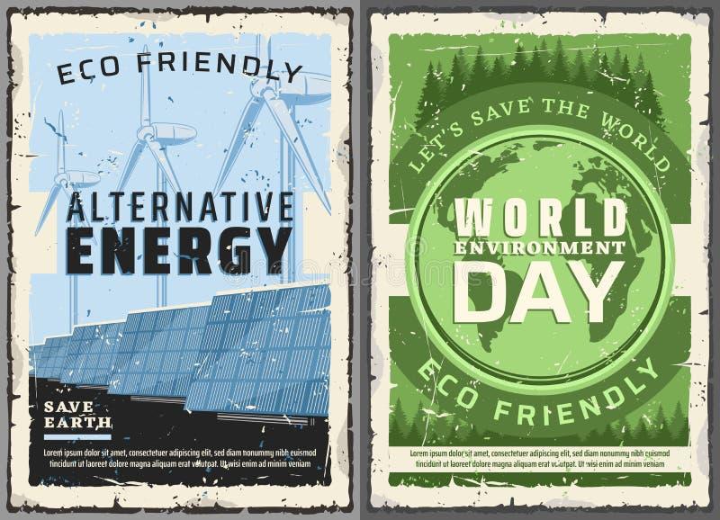 Alternatieve energiebronnen, de dag van het Wereldmilieu stock illustratie