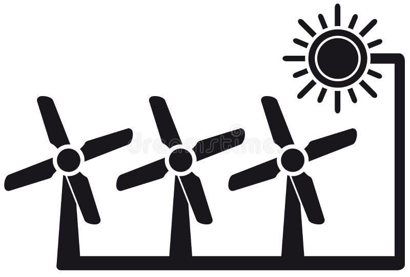 Alternatieve energiesymbool met windmolen stock illustratie