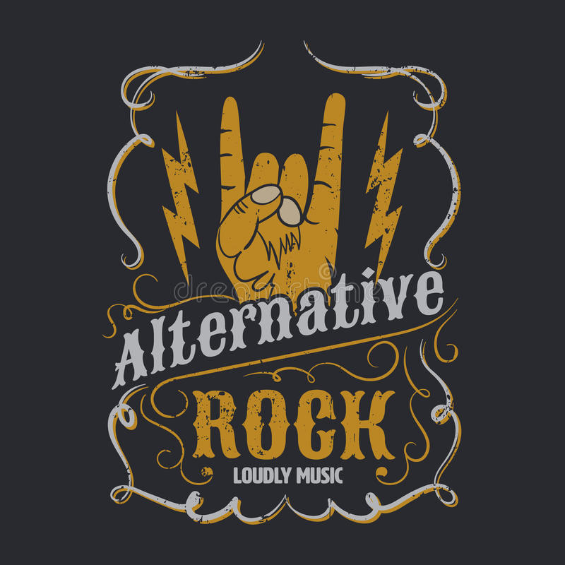 Alternatieve rots grafisch voor kleding, T-stukontwerp, vectorillustra stock illustratie