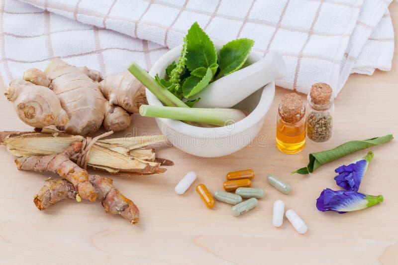 Alternatieve wi van de gezondheidszorg verse kruiden, droge en kruidencapsule stock foto's