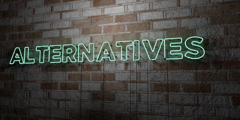 ALTERNATIEVEN - Gloeiend Neonteken op metselwerkmuur - 3D teruggegeven royalty vrije voorraadillustratie stock illustratie