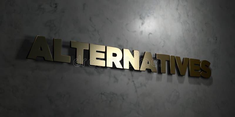 Alternatieven - Gouden tekst op zwarte achtergrond - 3D teruggegeven royalty vrij voorraadbeeld stock illustratie