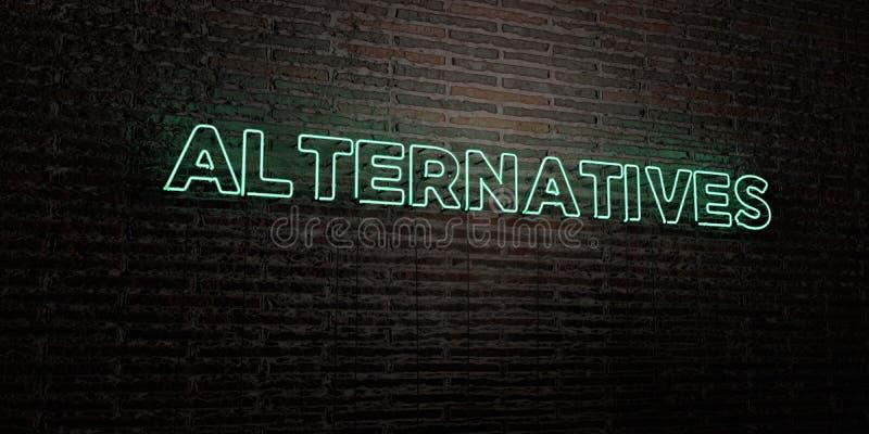 ALTERNATIEVEN - Realistisch Neonteken op Bakstenen muurachtergrond - 3D teruggegeven royalty vrij voorraadbeeld stock illustratie