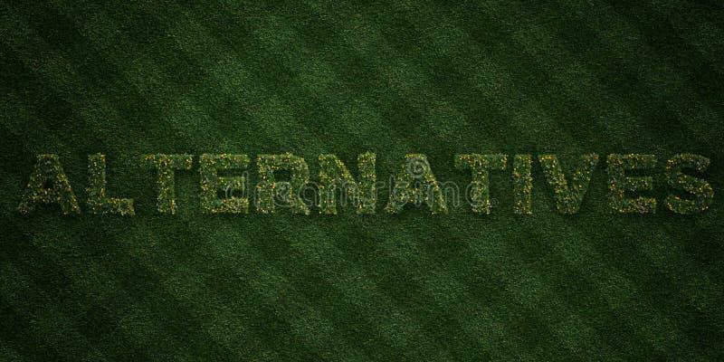 ALTERNATIEVEN - verse Grasbrieven met bloemen en paardebloemen - 3D teruggegeven royalty vrij voorraadbeeld vector illustratie