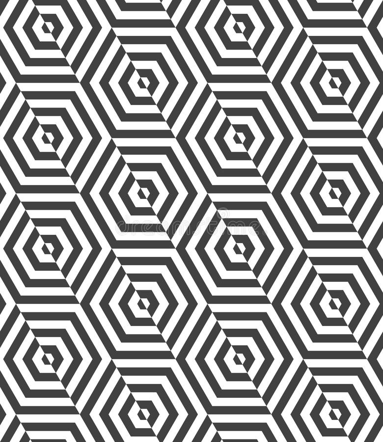 Alternating black and white diagonally cut hexagons. Geometric background with black and white stripes. Seamless monochrome pattern with zebra effect.Alternating vector illustration