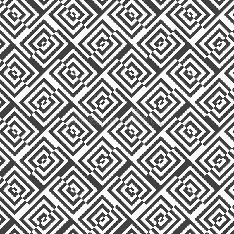 Alternating black and white diagonally cut squares with turn. Geometric background with black and white stripes. Seamless monochrome pattern with zebra effect stock illustration