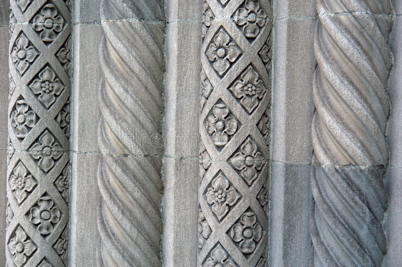 Alternating design on Cement Pillars old bank royalty free stock photos