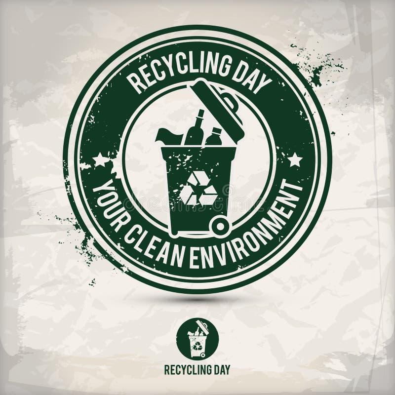 Alternativ återvinningdagstämpel stock illustrationer