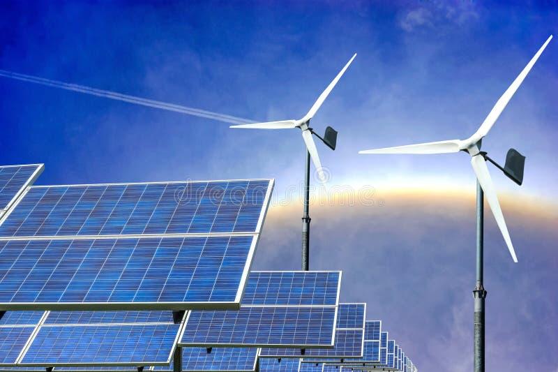 Alternativ energi för solpaneler och för vindturbiner från naturen arkivbild