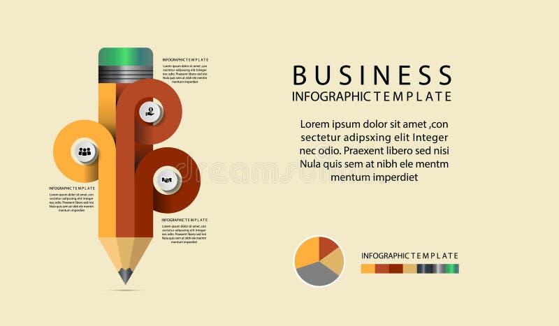Alternativ för mall för blyertspennaInfographic diagram infographic royaltyfri illustrationer