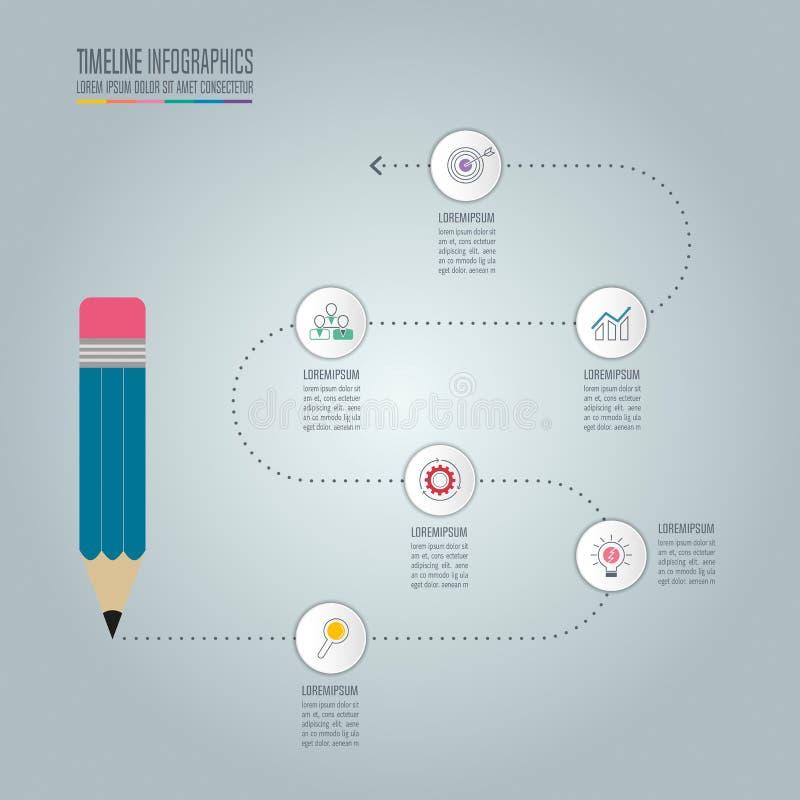 Alternativ för moment för utbildningsinfographicsmall 5 Timeline royaltyfri illustrationer
