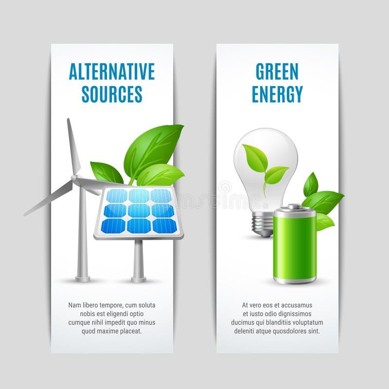 Alternativa källor och gröna energibaner royaltyfri illustrationer