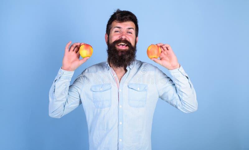 Alternativa sana Sirva las manzanas sonrientes barbudas de los controles en fondo del azul de las manos Manzanas en alternativa s imagen de archivo libre de regalías