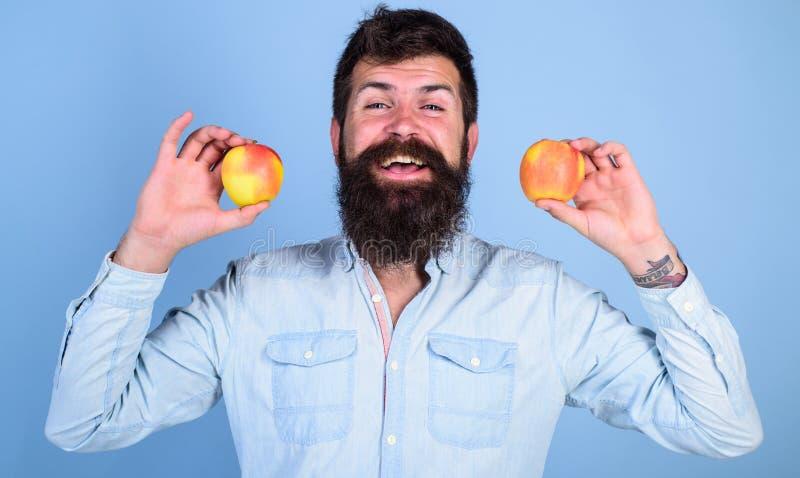 Alternativa sana Sirva las manzanas sonrientes barbudas de los controles en fondo del azul de las manos Concepto totalmente sano  imagen de archivo libre de regalías
