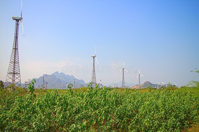 Alternativas 6 da energia Exploração agrícola de vento na província indiana de Kerala fotografia de stock royalty free