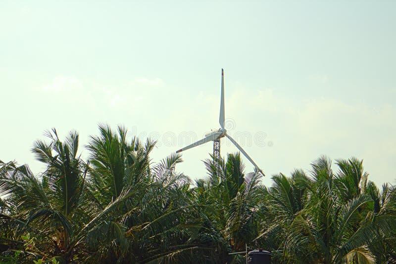 Alternativas 6 da energia Exploração agrícola de vento na província indiana de Kerala imagens de stock royalty free