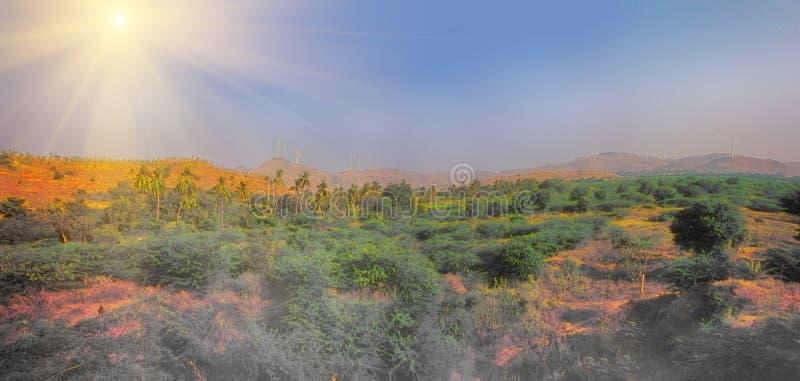 Alternativas 7 da energia Exploração agrícola de vento na província indiana de Kerala imagens de stock royalty free