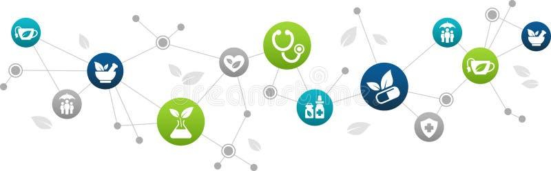 Alternative Abhilfs-/der natürlichen Kräutermedizin/organischen Medikationsikonenkonzept Illustration lizenzfreie abbildung