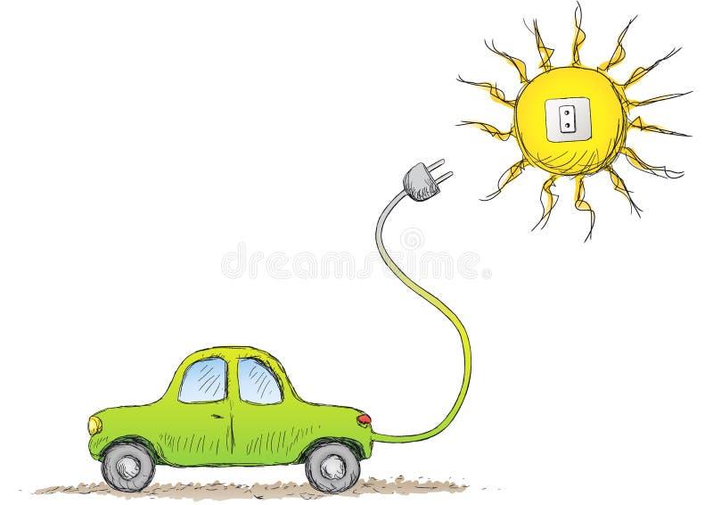 Alternative car. Illustration of a cute little eco car stock illustration