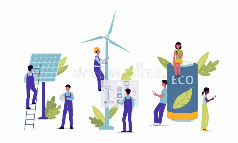 Alternative clean renewable energy concept flat vector illustration isolated. royalty free illustration