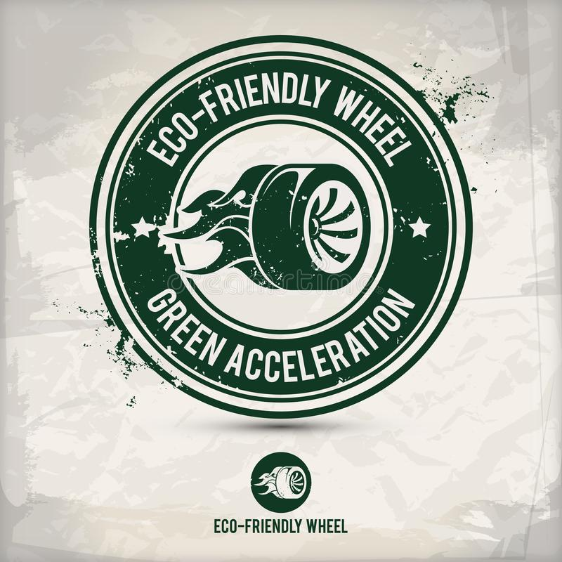 Alternative eco friendly tire and wheel stamp vector illustration