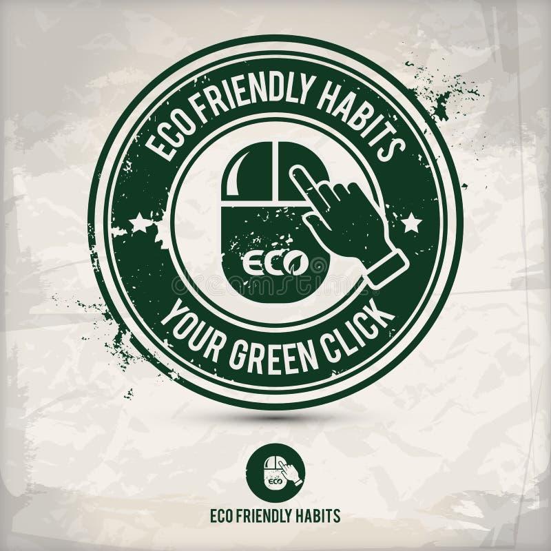 Alternative eco Gewohnheiten stempeln lizenzfreie abbildung
