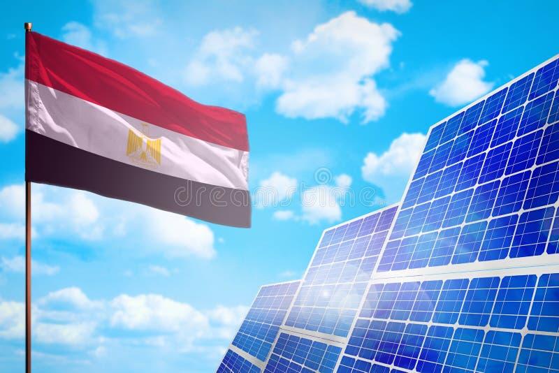 Alternative Energie Ägyptens, Solarenergiekonzept mit industrieller Illustration der Flagge - Symbol des Kampfes mit der globalen lizenzfreie abbildung