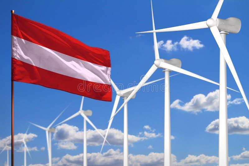Alternative Energie Österreichs, industrielles Konzept der Windenergie mit Windmühlen und industrielle Illustration der Flagge -  stock abbildung