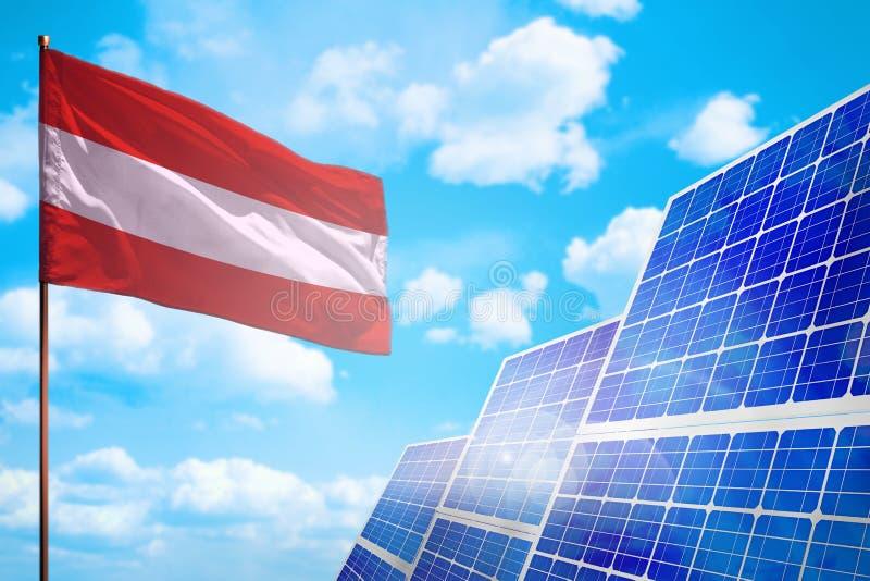 Alternative Energie Österreichs, Solarenergiekonzept mit industrieller Illustration der Flagge - Symbol des Kampfes mit der globa lizenzfreie abbildung