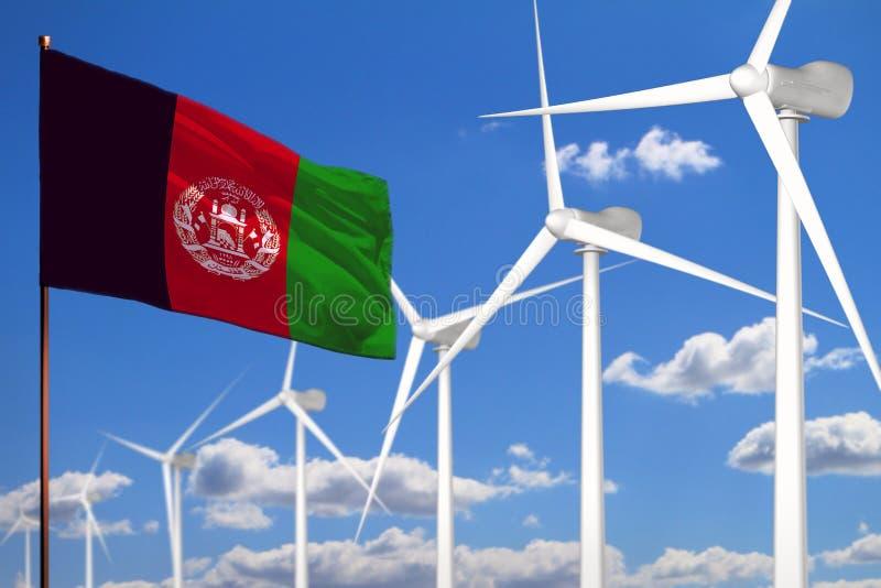 Alternative Energie Afghanistans, industrielles Konzept der Windenergie mit Windmühlen und industrielle Illustration der Flagge - stock abbildung