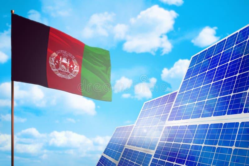 Alternative Energie Afghanistans, Solarenergiekonzept mit industrieller Illustration der Flagge - Symbol des Kampfes mit der glob vektor abbildung