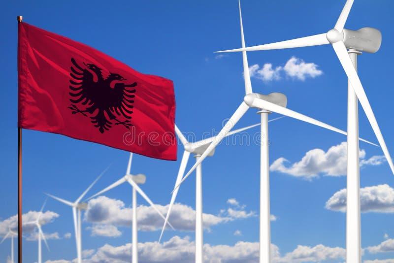 Alternative Energie Albaniens, industrielles Konzept der Windenergie mit Windmühlen und industrielle Illustration der Flagge - au vektor abbildung