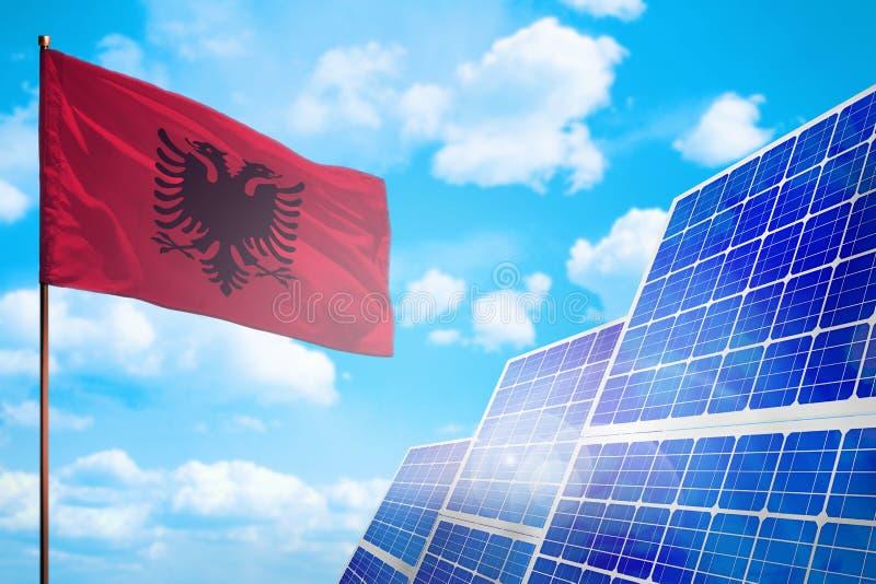 Alternative Energie Albaniens, Solarenergiekonzept mit industrieller Illustration der Flagge - Symbol des Kampfes mit der globale stock abbildung