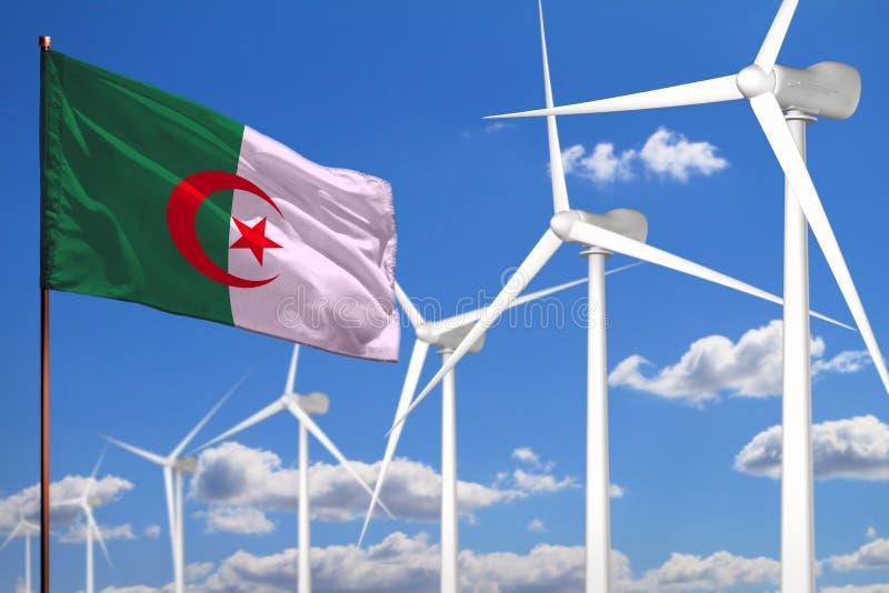 Alternative Energie Algeriens, industrielles Konzept der Windenergie mit Windm?hlen und industrielle Illustration der Flagge - au vektor abbildung