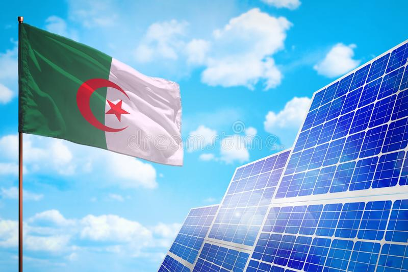 Alternative Energie Algeriens, Solarenergiekonzept mit industrieller Illustration der Flagge - Symbol des Kampfes mit der globale lizenzfreie abbildung