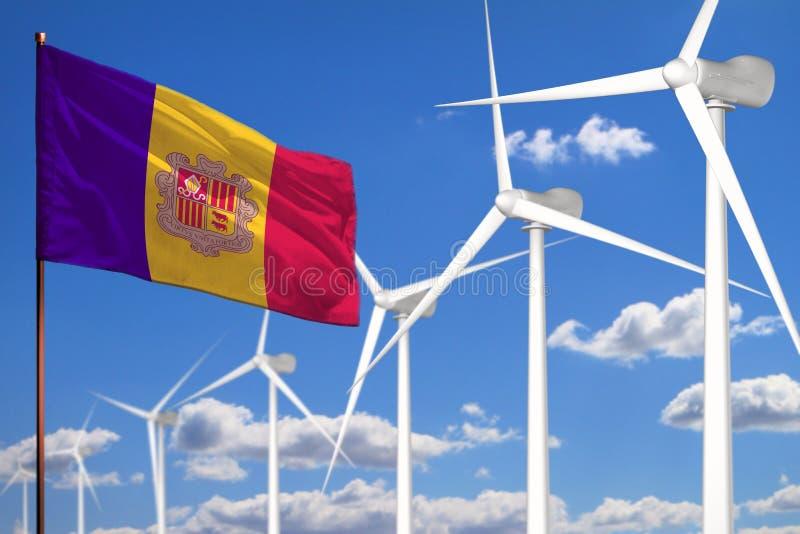 Alternative Energie Andorras, industrielles Konzept der Windenergie mit Windmühlen und industrielle Illustration der Flagge - aus stock abbildung
