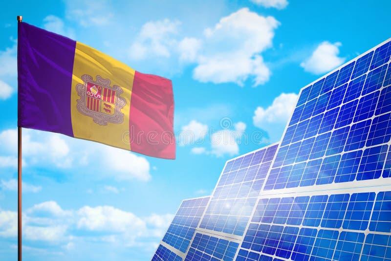 Alternative Energie Andorras, Solarenergiekonzept mit industrieller Illustration der Flagge - Symbol des Kampfes mit der globalen vektor abbildung