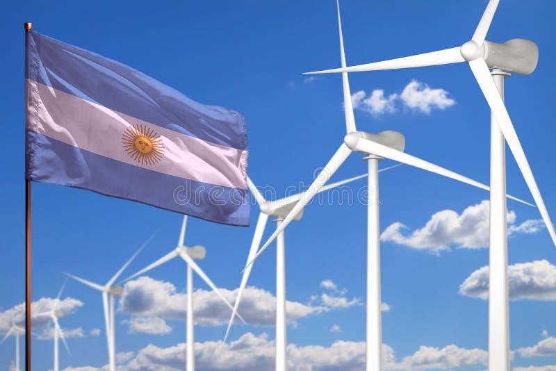 Alternative Energie Argentiniens, industrielles Konzept der Windenergie mit Windmühlen und industrielle Illustration der Flagge - vektor abbildung