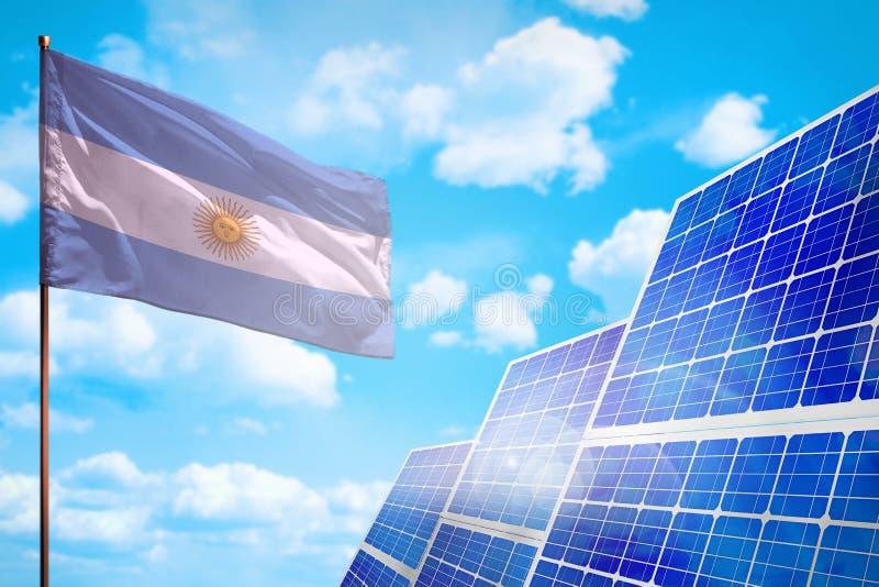 Alternative Energie Argentiniens, Solarenergiekonzept mit industrieller Illustration der Flagge - Symbol des Kampfes mit der glob vektor abbildung