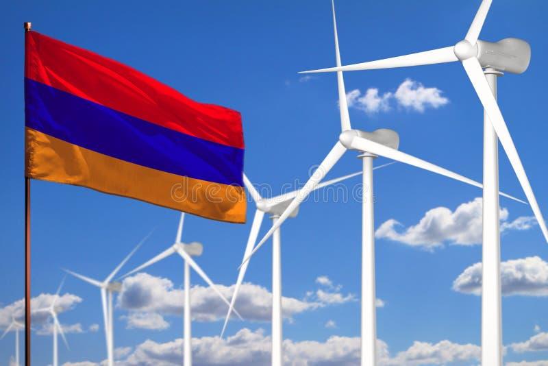 Alternative Energie Armeniens, industrielles Konzept der Windenergie mit Windmühlen und industrielle Illustration der Flagge - au lizenzfreie abbildung