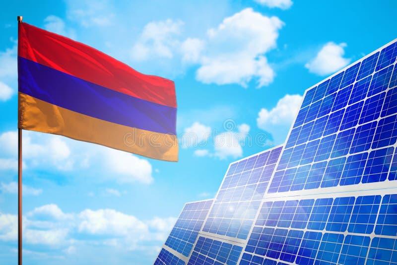 Alternative Energie Armeniens, Solarenergiekonzept mit industrieller Illustration der Flagge - Symbol des Kampfes mit der globale lizenzfreie abbildung