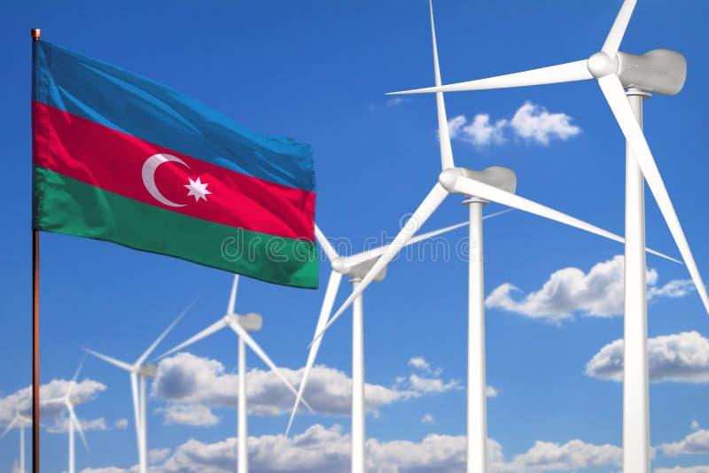 Alternative Energie Aserbaidschans, industrielles Konzept der Windenergie mit Windmühlen und industrielle Illustration der Flagge lizenzfreie abbildung