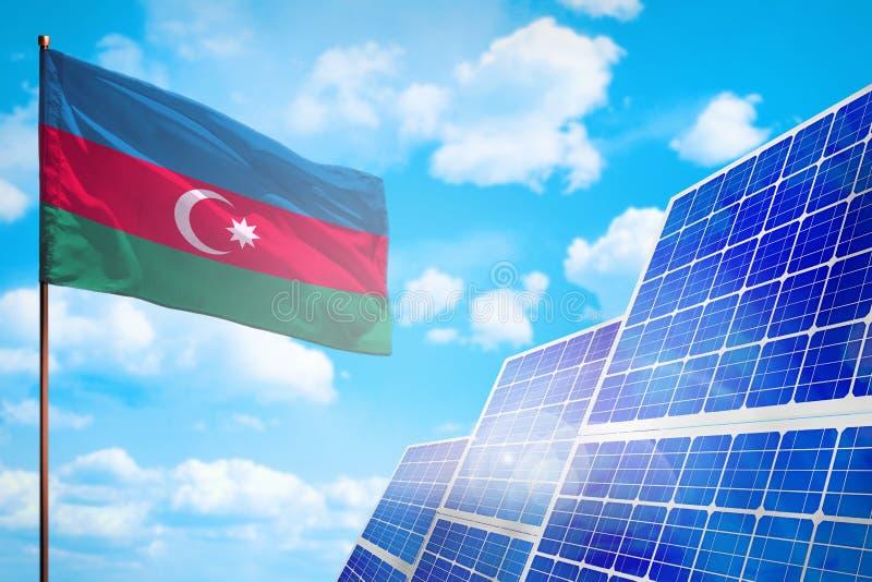 Alternative Energie Aserbaidschans, Solarenergiekonzept mit industrieller Illustration der Flagge - Symbol des Kampfes mit der gl lizenzfreie abbildung