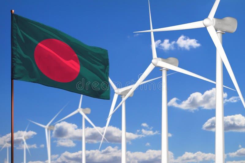 Alternative Energie Bangladeschs, industrielles Konzept der Windenergie mit Windmühlen und industrielle Illustration der Flagge - vektor abbildung