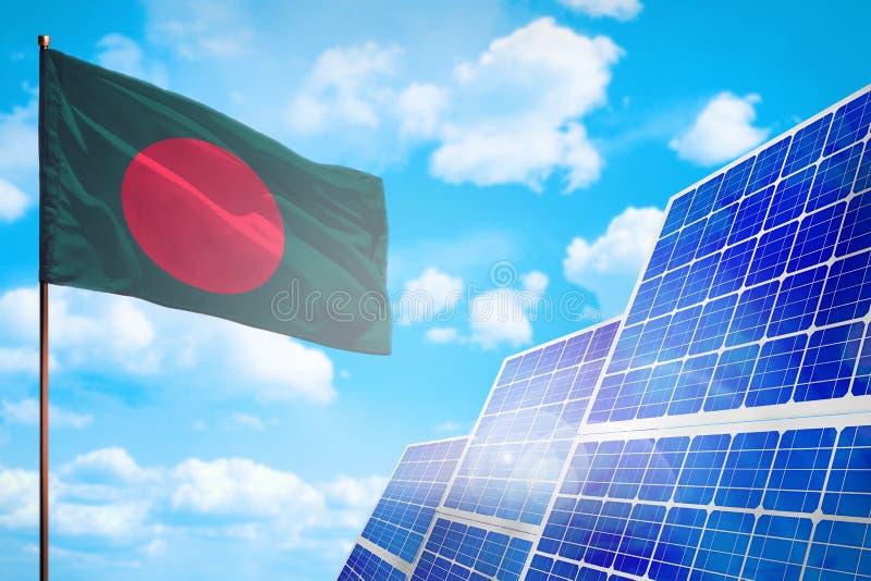 Alternative Energie Bangladeschs, Solarenergiekonzept mit industrieller Illustration der Flagge - Symbol des Kampfes mit der glob stock abbildung