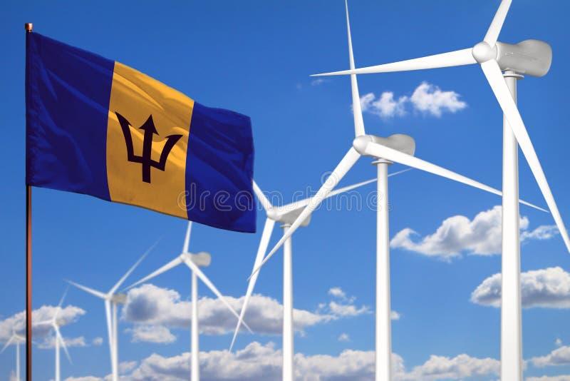 Alternative Energie Barbados, industrielles Konzept der Windenergie mit Windmühlen und industrielle Illustration der Flagge - aus lizenzfreie abbildung
